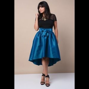 Dresses & Skirts - New Plus Size Blue Satin High Low Maxi Skirt